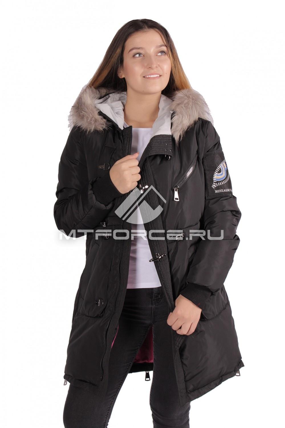 Купить оптом Куртка парка женская зимняя ПИСК сезона черного цвета 16059Ch