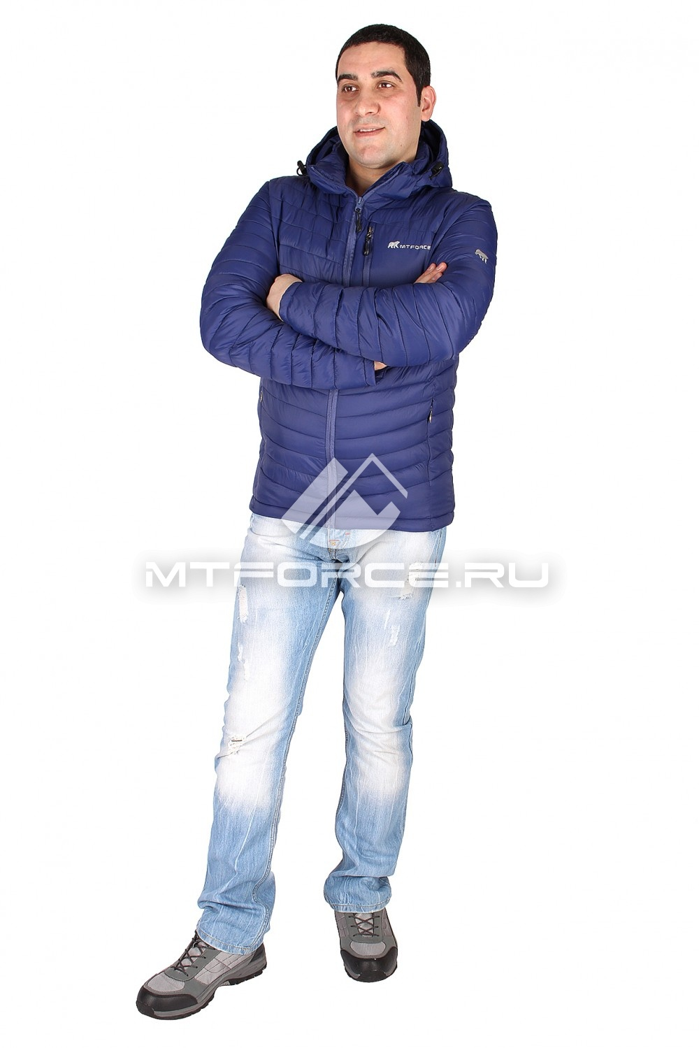 Купить                                  оптом Куртка мужская стеганная темно-синего цвета 1606ТS