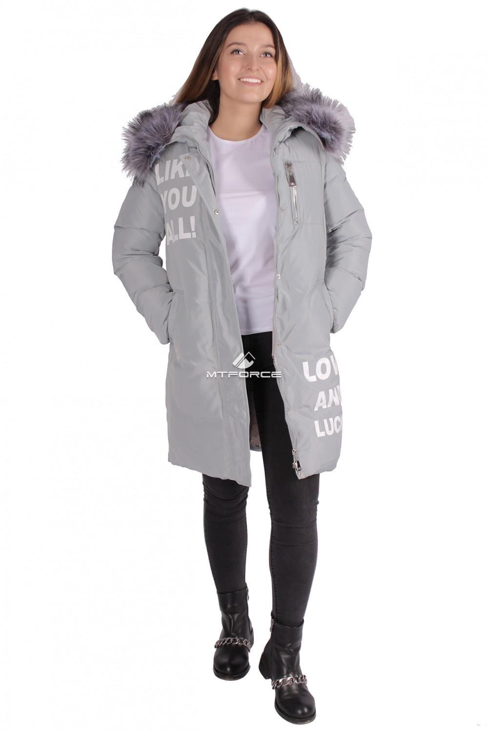 Купить                                  оптом Пуховик ТРЕНД женский зимний серого цвета 16085Sr в Санкт-Петербурге