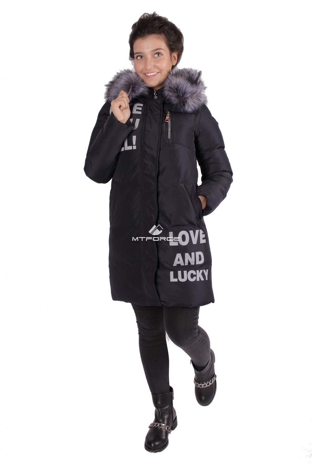 Купить оптом Пуховик ТРЕНД женский зимний темно-синего цвета 16085TS в Новосибирске