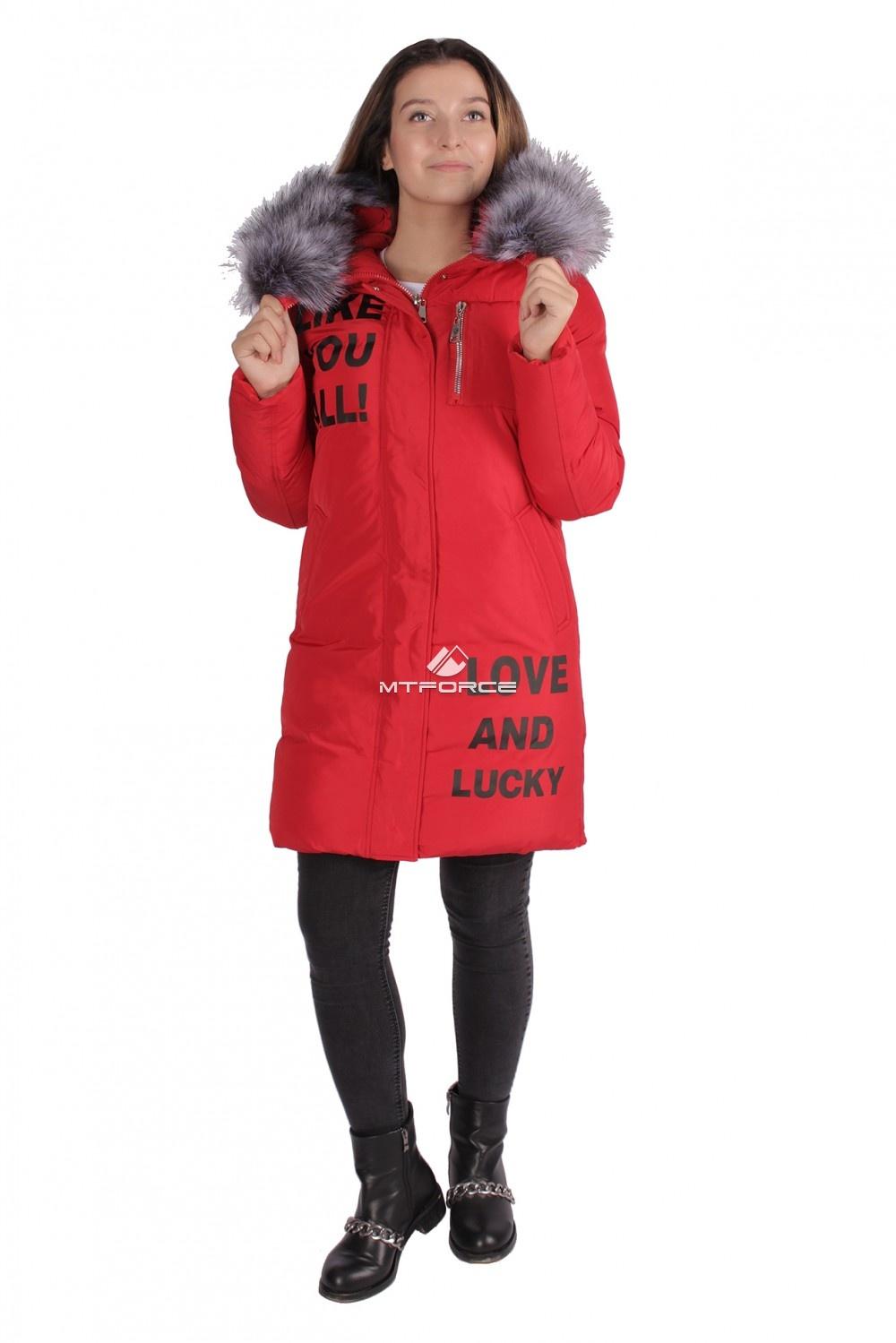 Купить оптом Пуховик ТРЕНД женский зимний красного цвета 16085Kr в Новосибирске