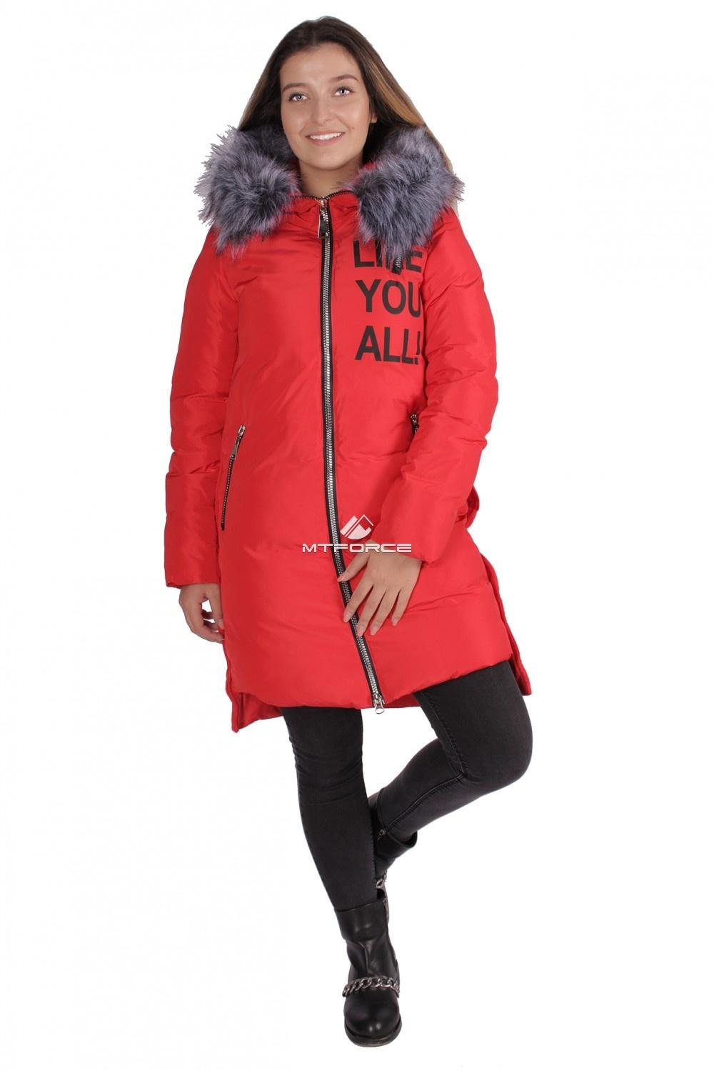Купить  оптом Пуховик ТРЕНД женский зимний красного цвета 16092Kr