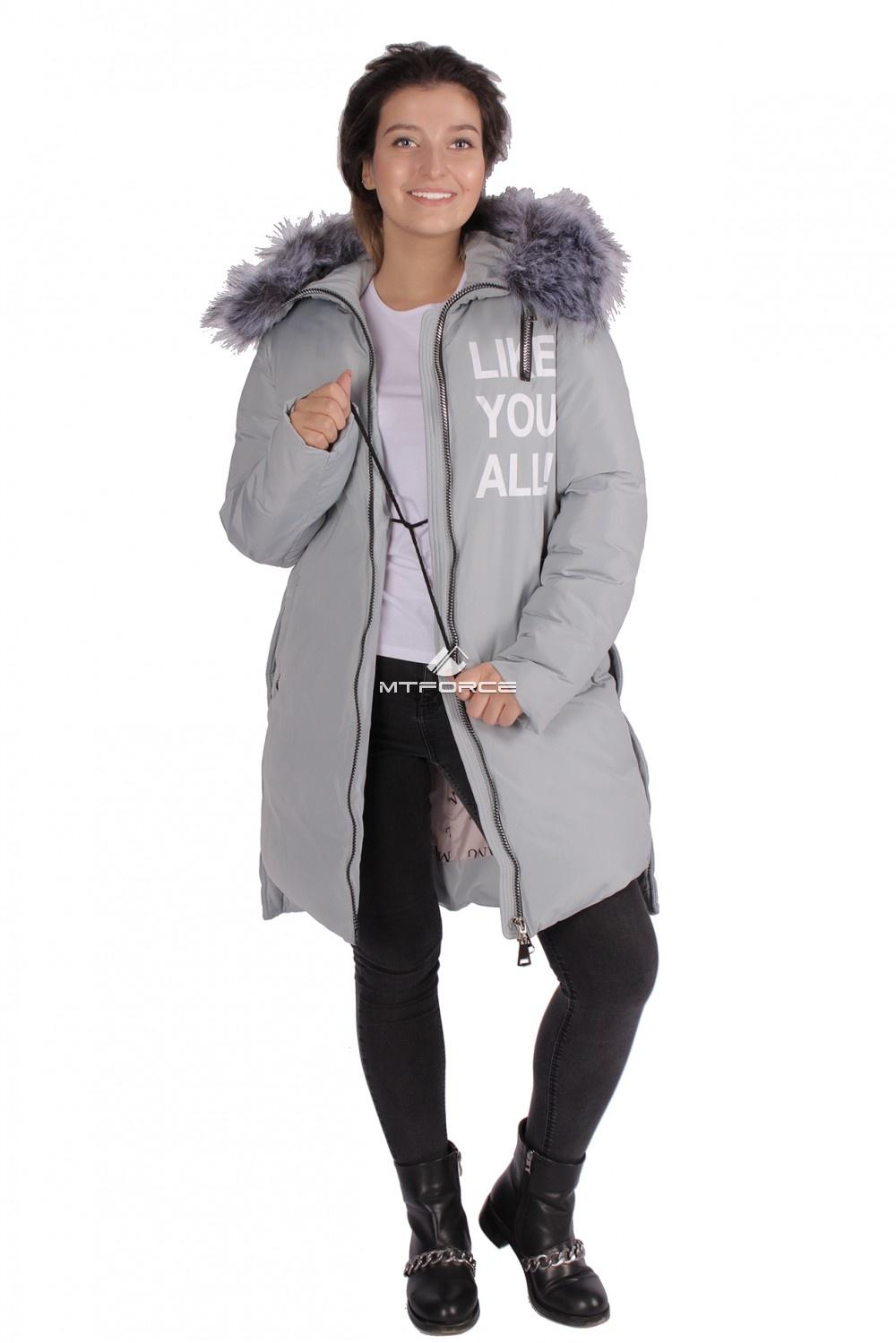 Купить                                  оптом Пуховик ТРЕНД женский зимний серого цвета 16092Sr