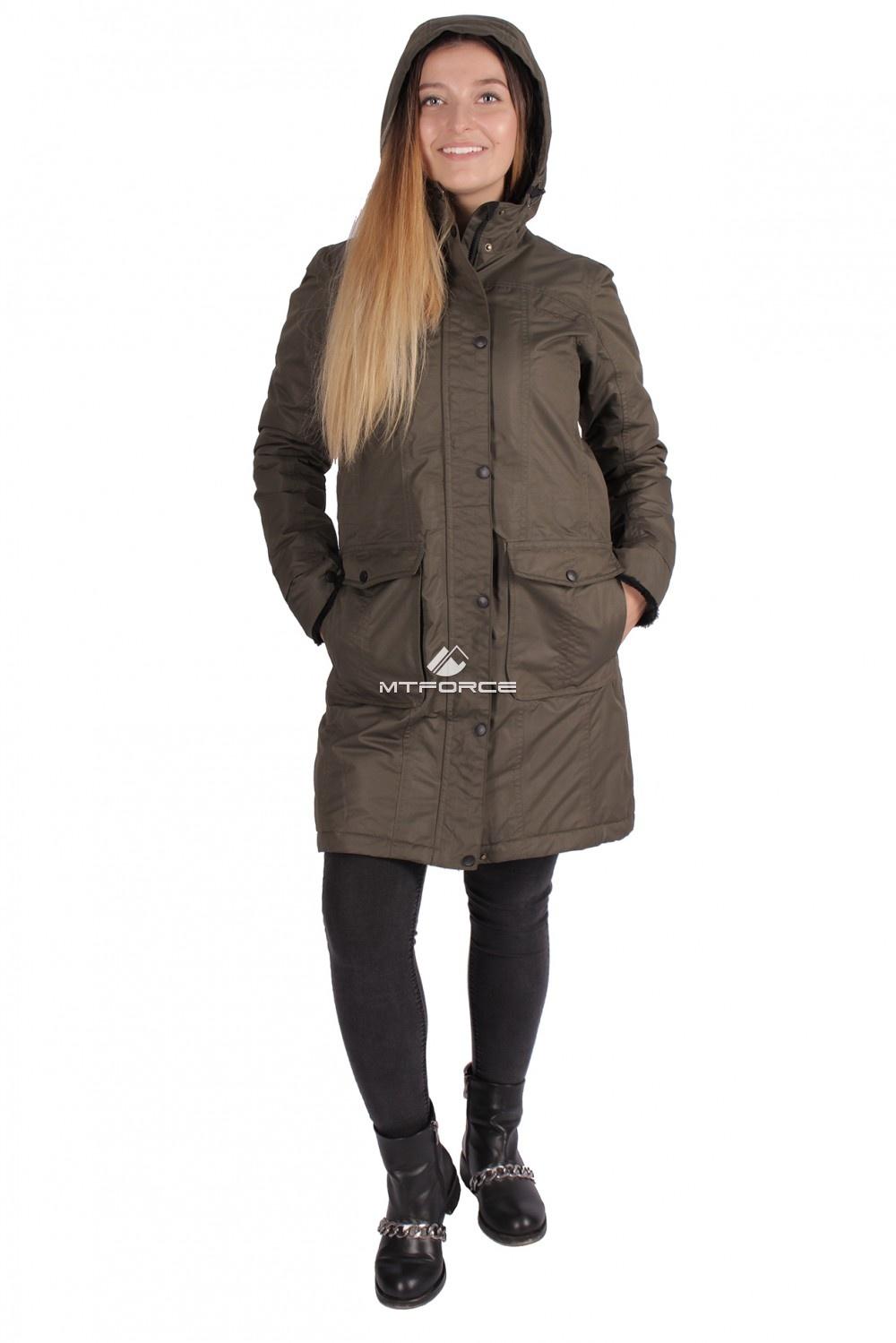 Купить                                  оптом Куртка парка демисезонная женская ПИСК сезона цвета хаки 16099Kh в Санкт-Петербурге