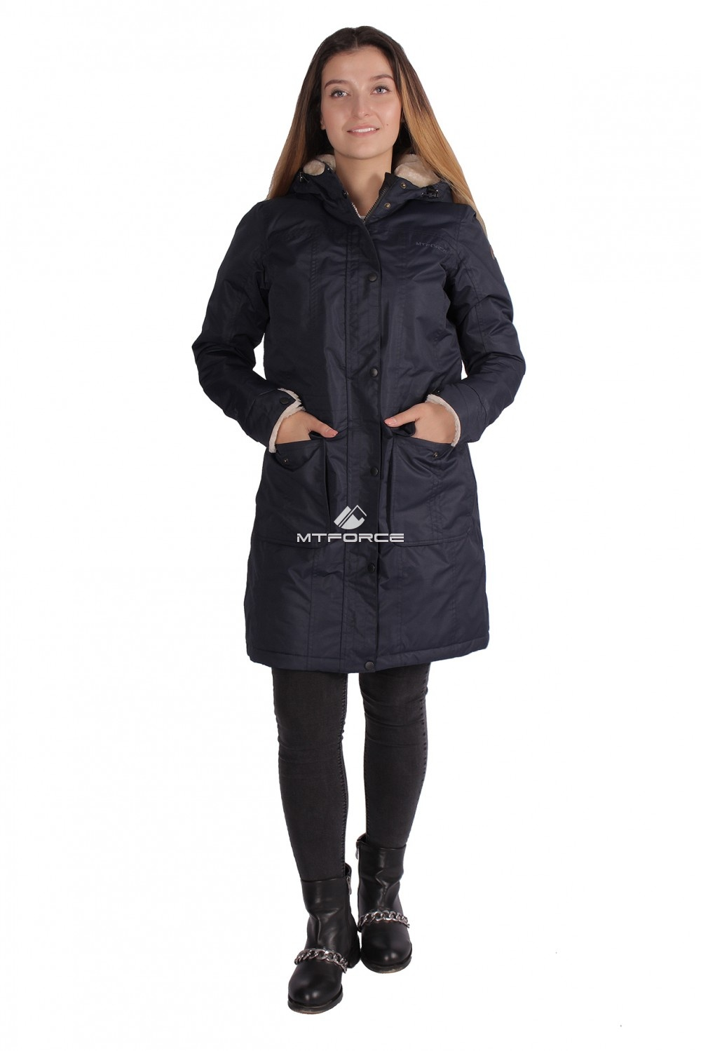 Купить оптом Куртка парка демисезонная женская ПИСК сезона темно-синего цвета 16099TS в Санкт-Петербурге