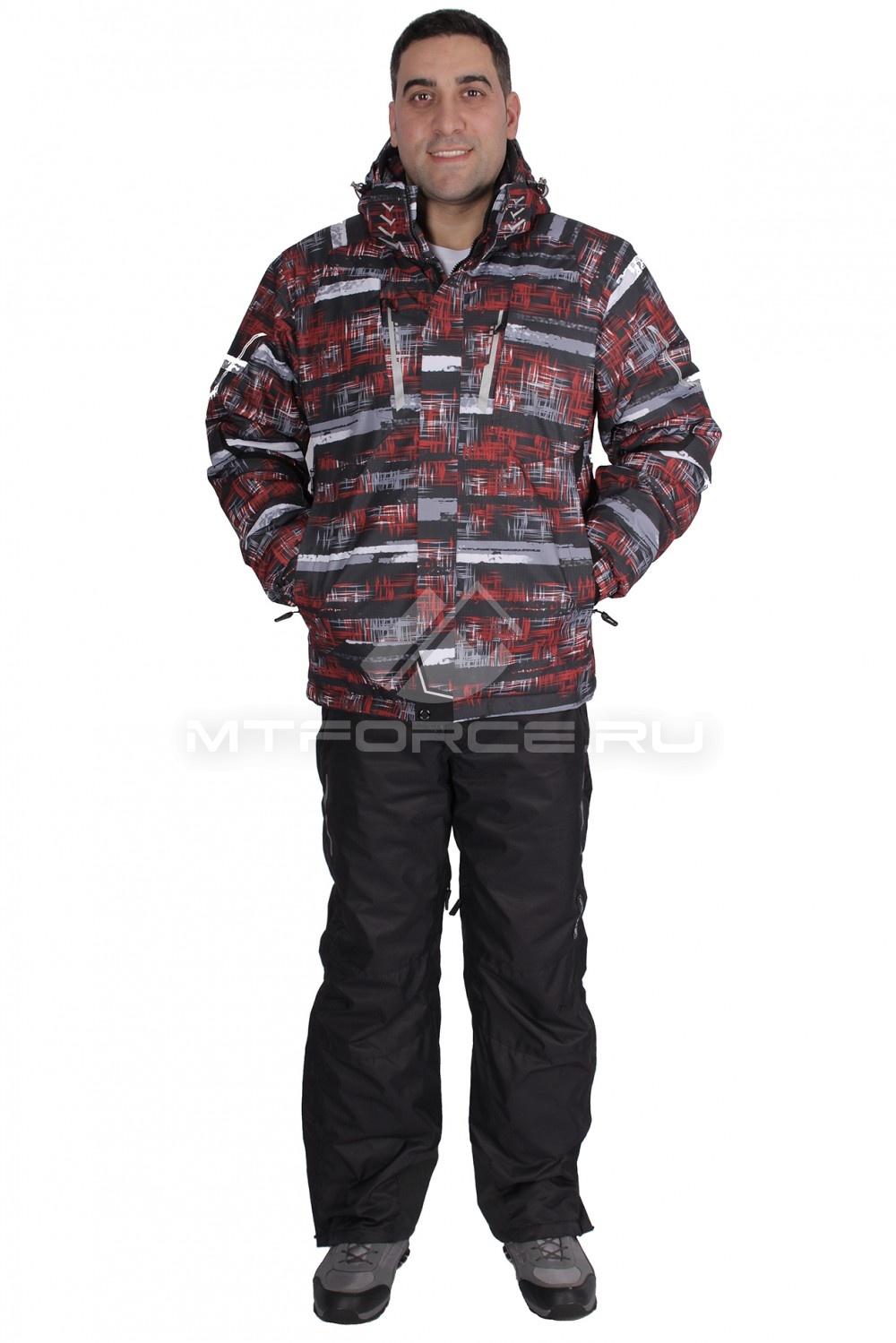 Купить  оптом Костюм горнолыжный мужской красного цвета 016100Kr