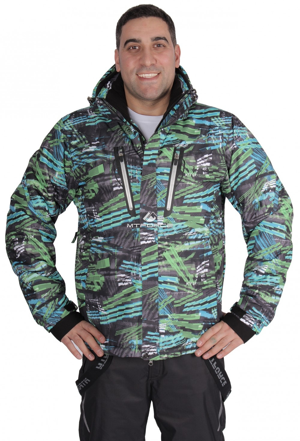 Купить оптом Куртка горнолыжная мужская зеленого цвета 1613Z