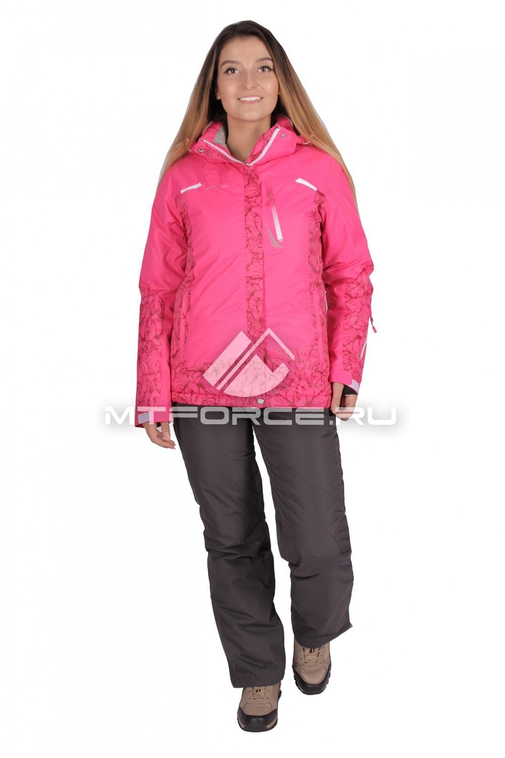 Купить оптом Костюм горнолыжный женский розового цвета 01621R