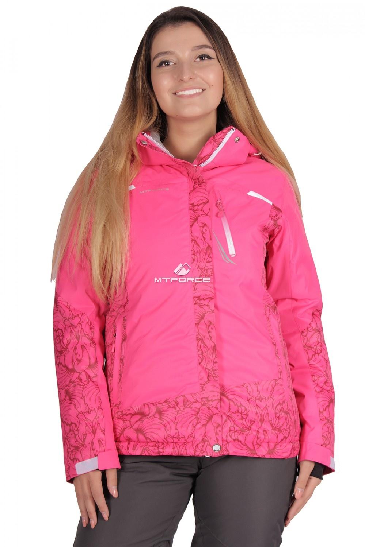 Купить оптом Куртка горнолыжная женская розового цвета 1621R в Санкт-Петербурге