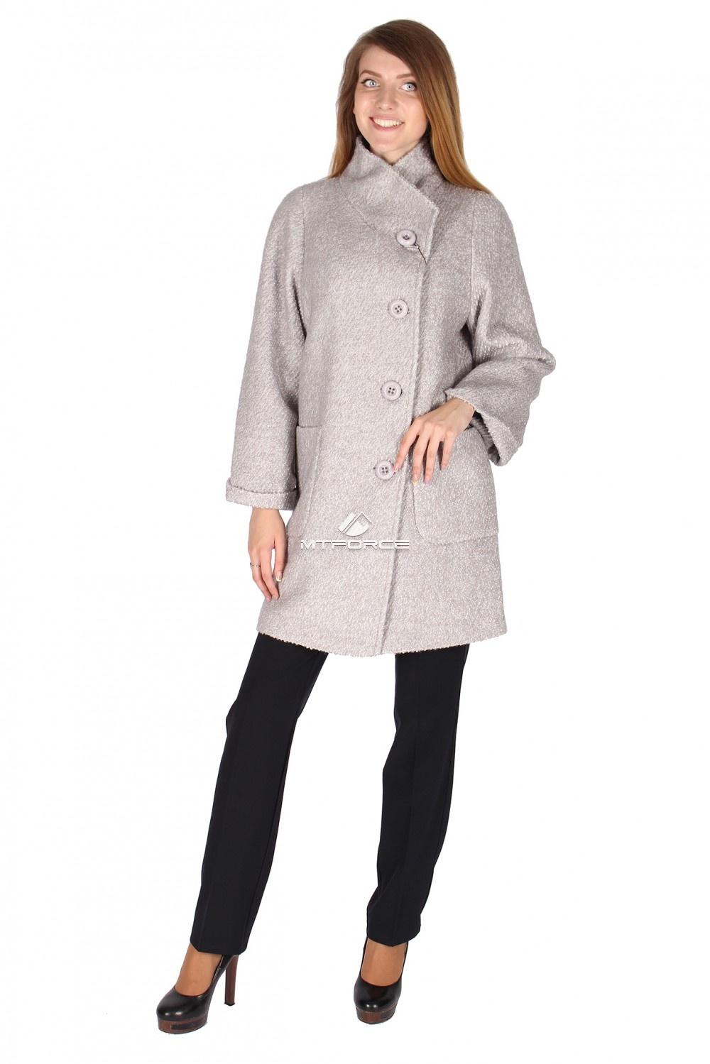 Купить                                  оптом Пальто женское серого цвета 16257Sr