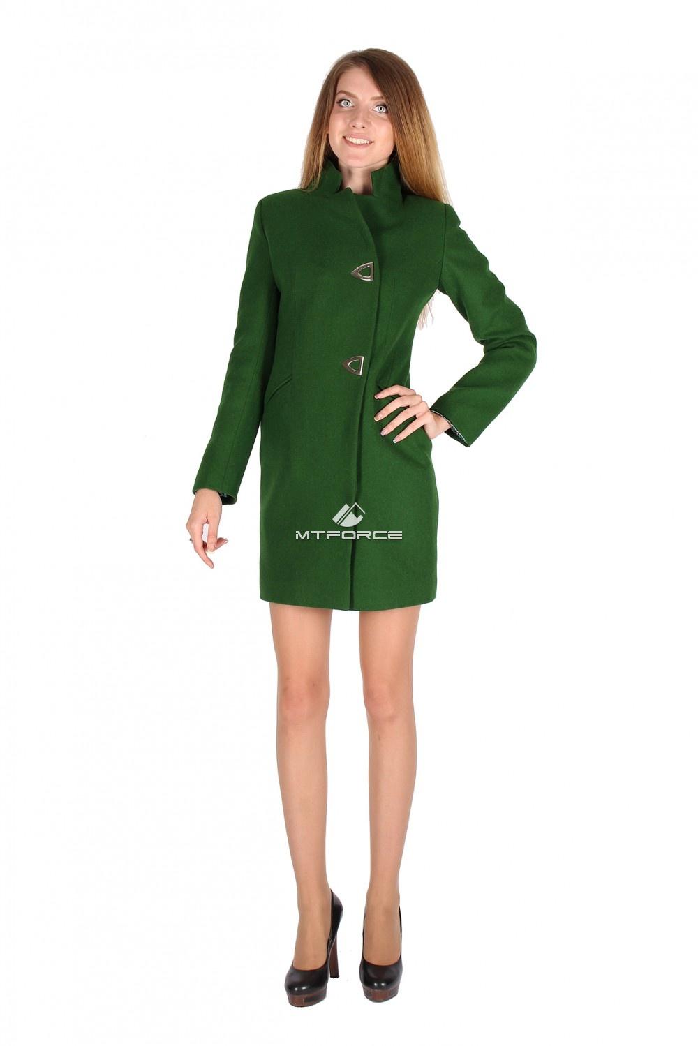 Купить                                  оптом Пальто женское темно-зеленого цвета 16269TZ