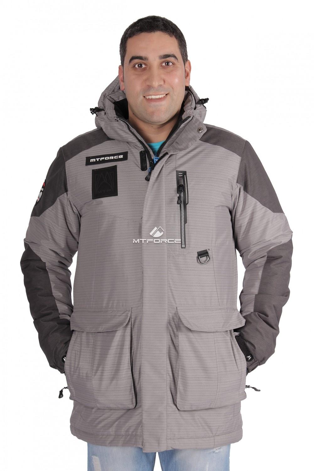 Купить оптом Куртка зимняя удлиненная мужская серого цвета 1627Sr в Новосибирске