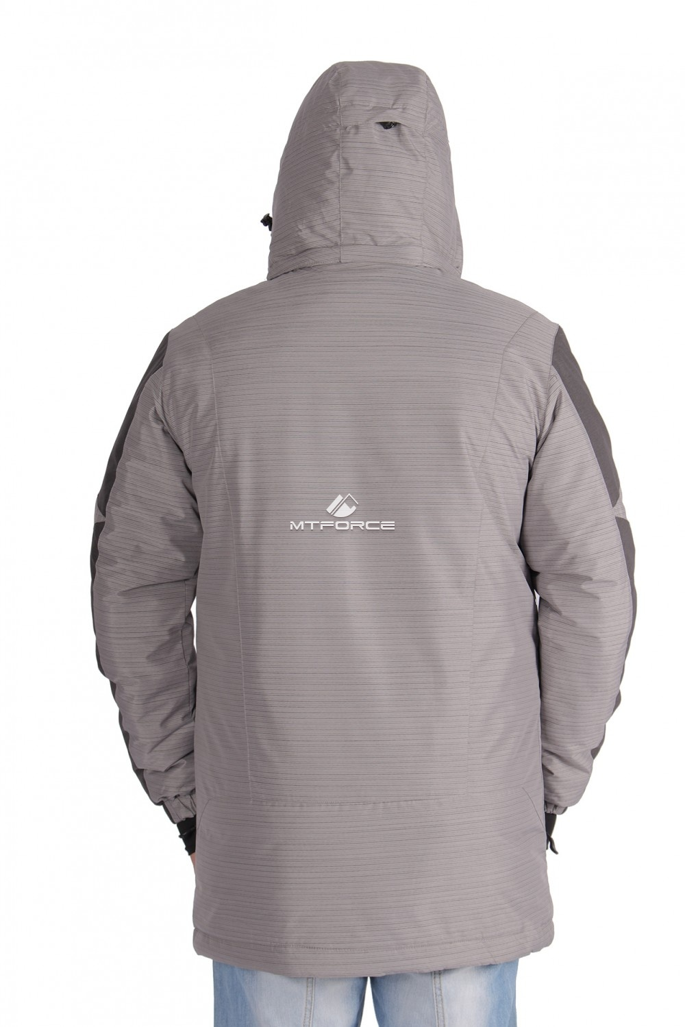 Купить оптом Куртка зимняя удлиненная мужская серого цвета 1627Sr в Перми
