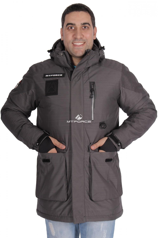 Купить                                  оптом Куртка зимняя удлиненная мужская темно-серого цвета 1627TC