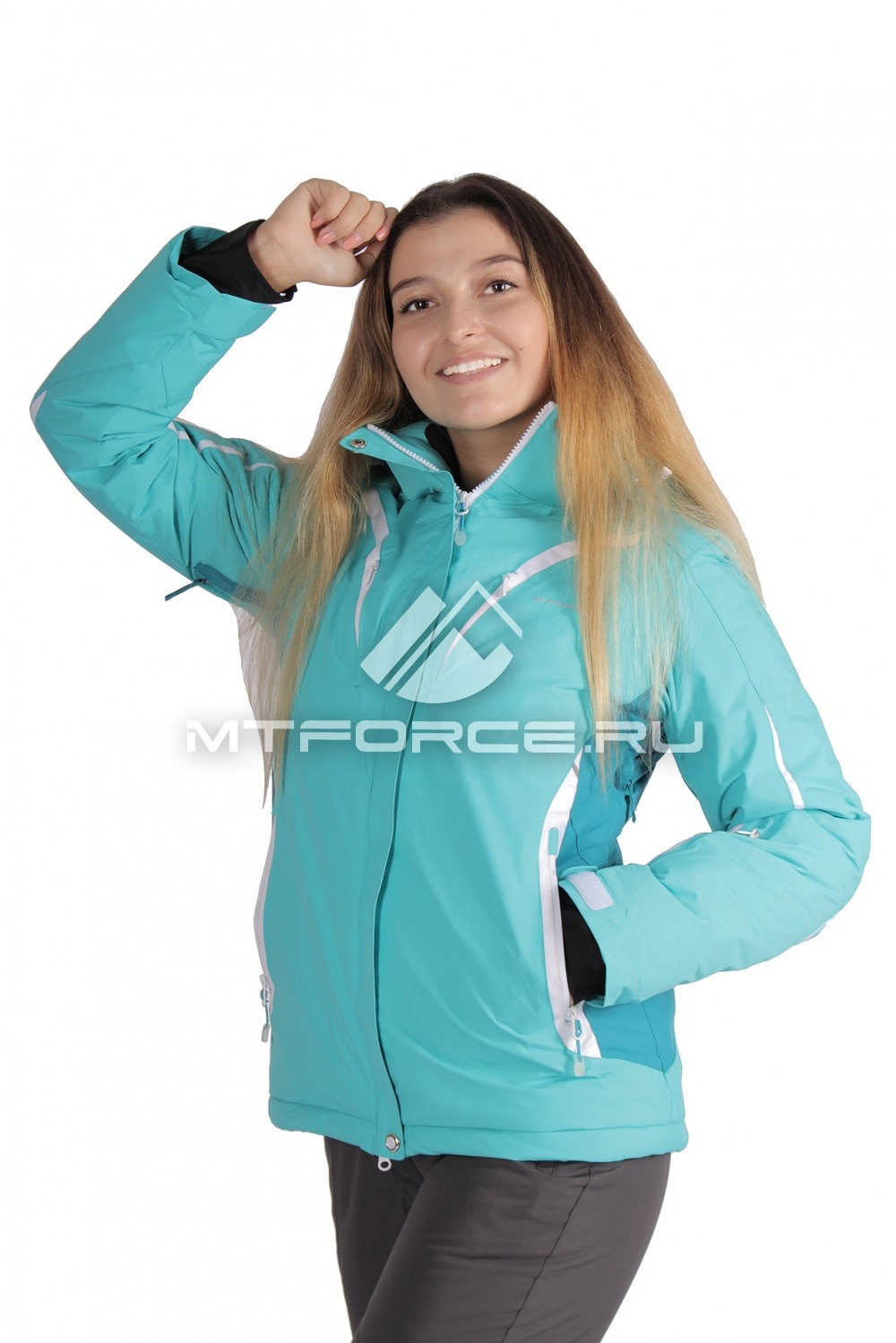 Купить                                  оптом Куртка горнолыжная женская большого размера бирюзового цвета 1628Br