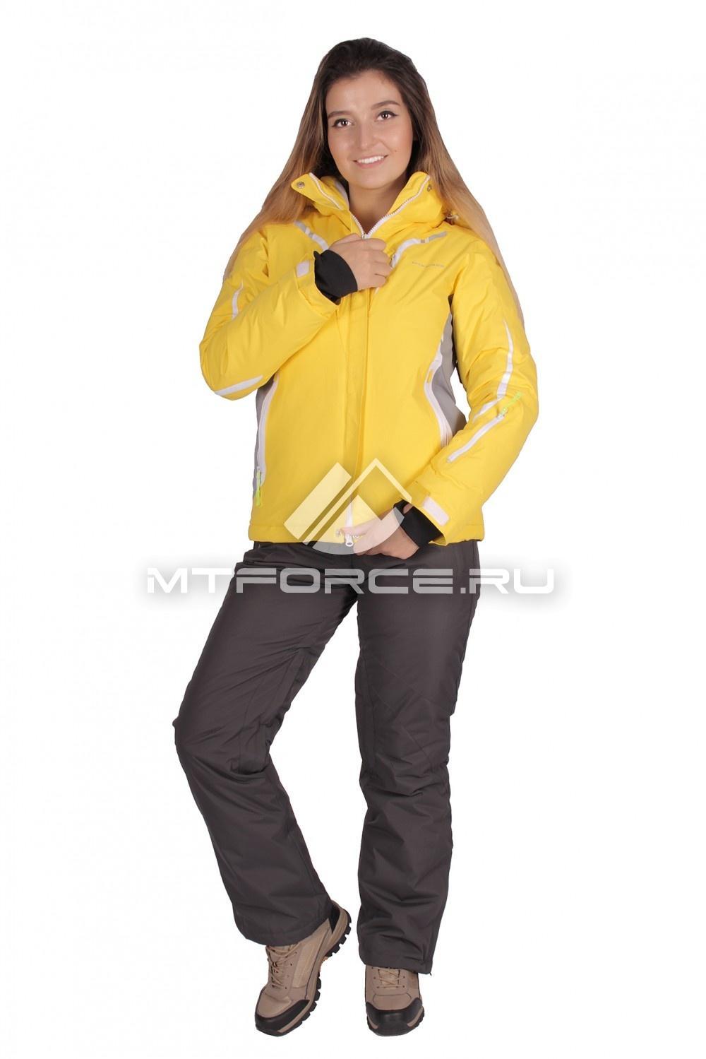 Купить                                  оптом Костюм горнолыжный женский желтого цвета 01628J