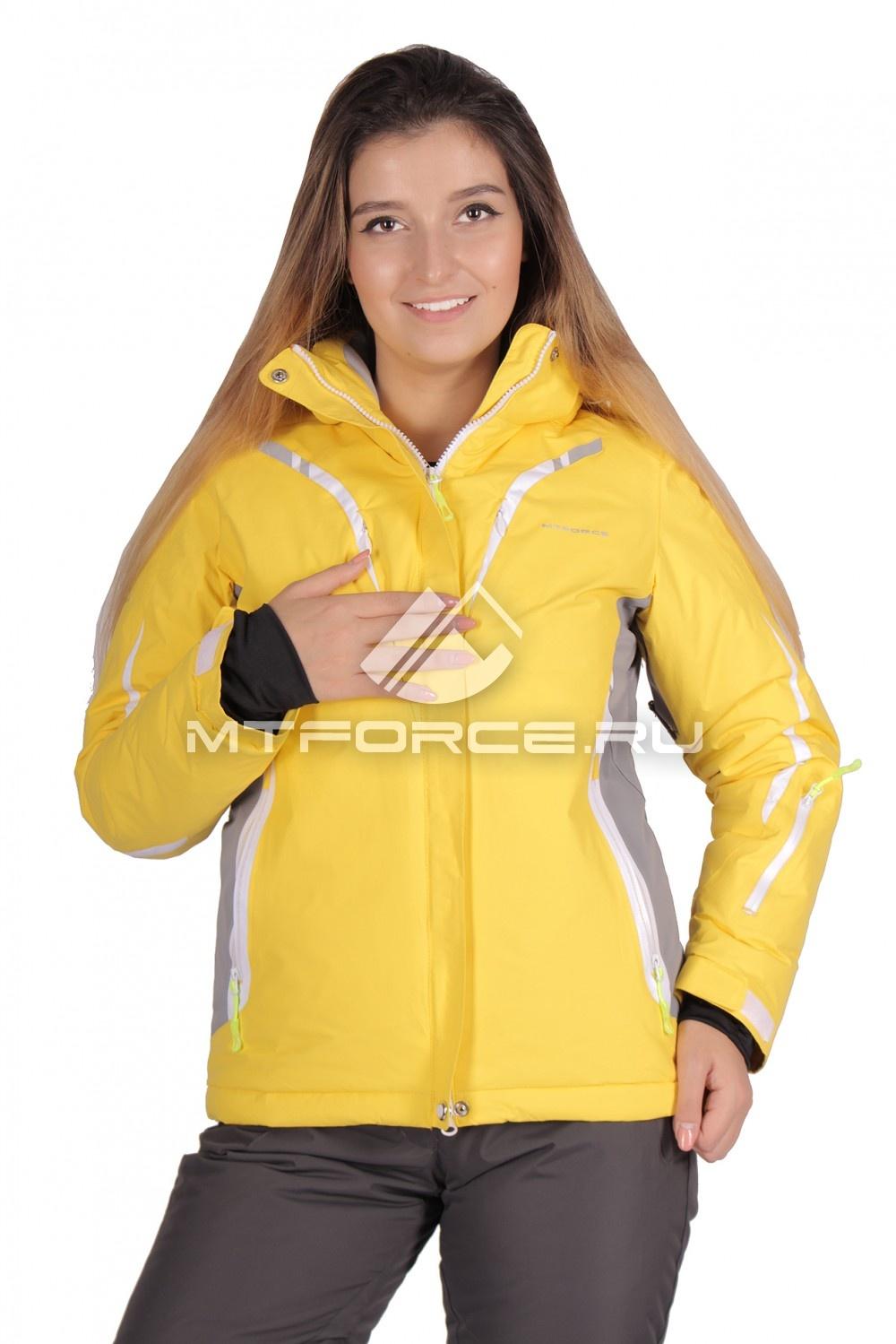 Купить оптом Куртка горнолыжная женская большого размера желтого цвета 1628J