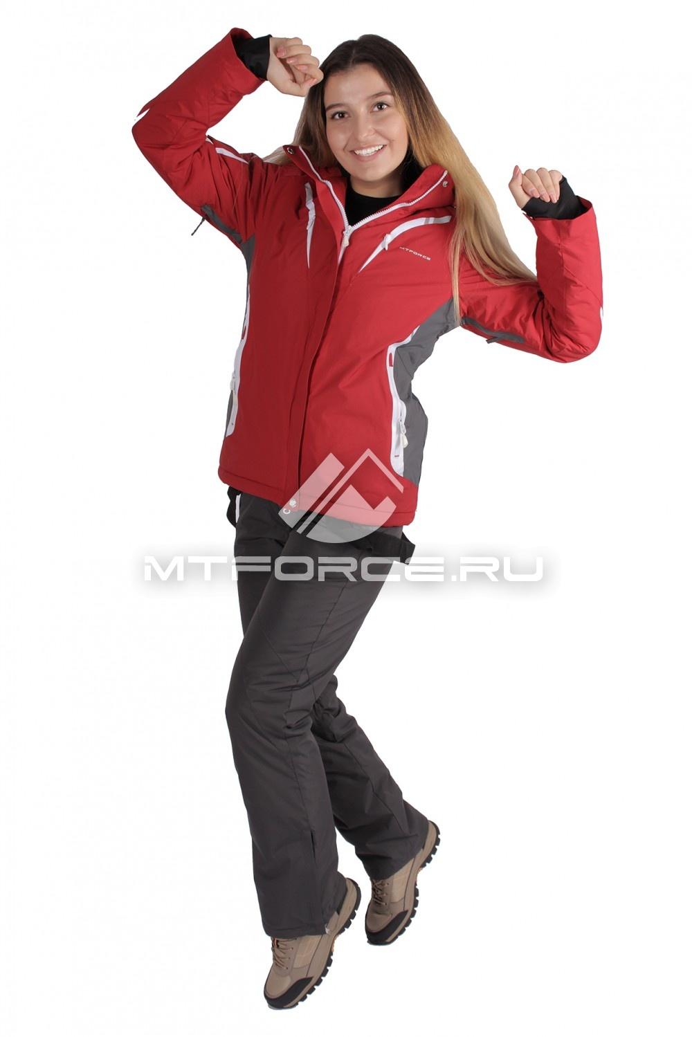 Купить                                  оптом Костюм горнолыжный женский красного цвета 01628Kr