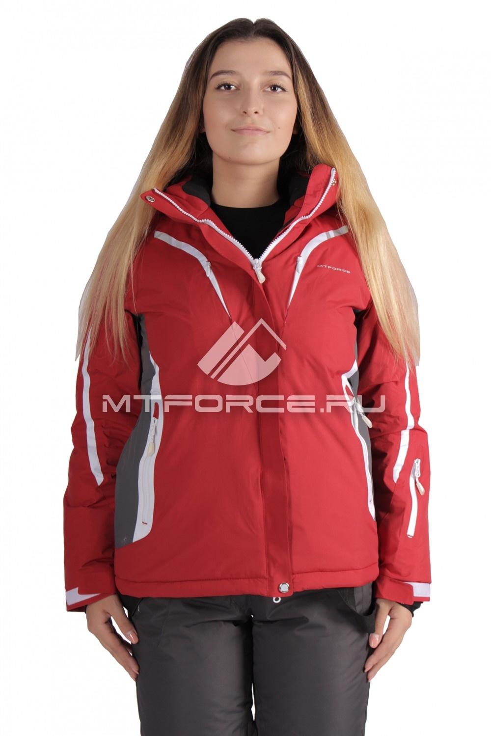 Купить                                  оптом Куртка горнолыжная женская большого размера красного цвета 1628Kr