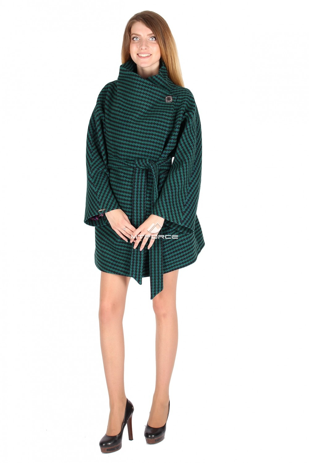 Купить                                  оптом Полупальто женское темно-зеленого цвета 16288TZ