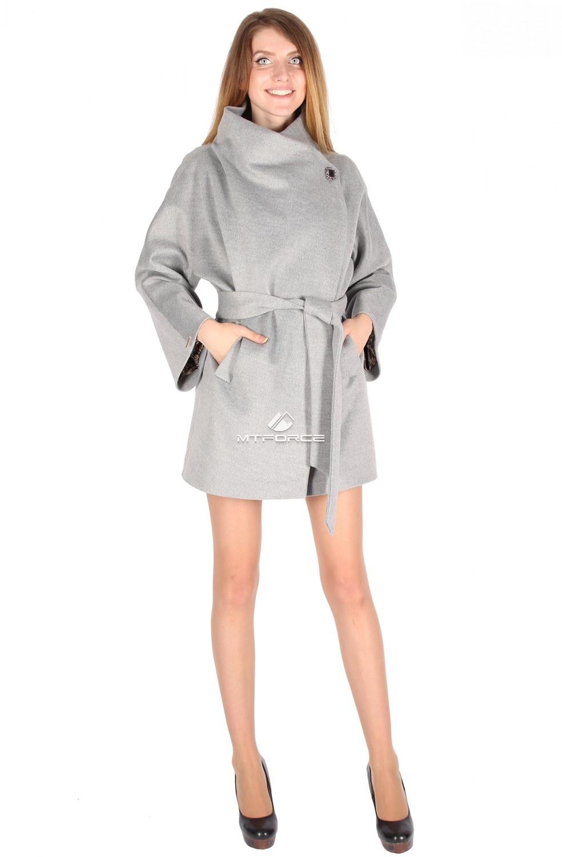 Купить                                  оптом Полупальто женское серого цвета 16288Sr