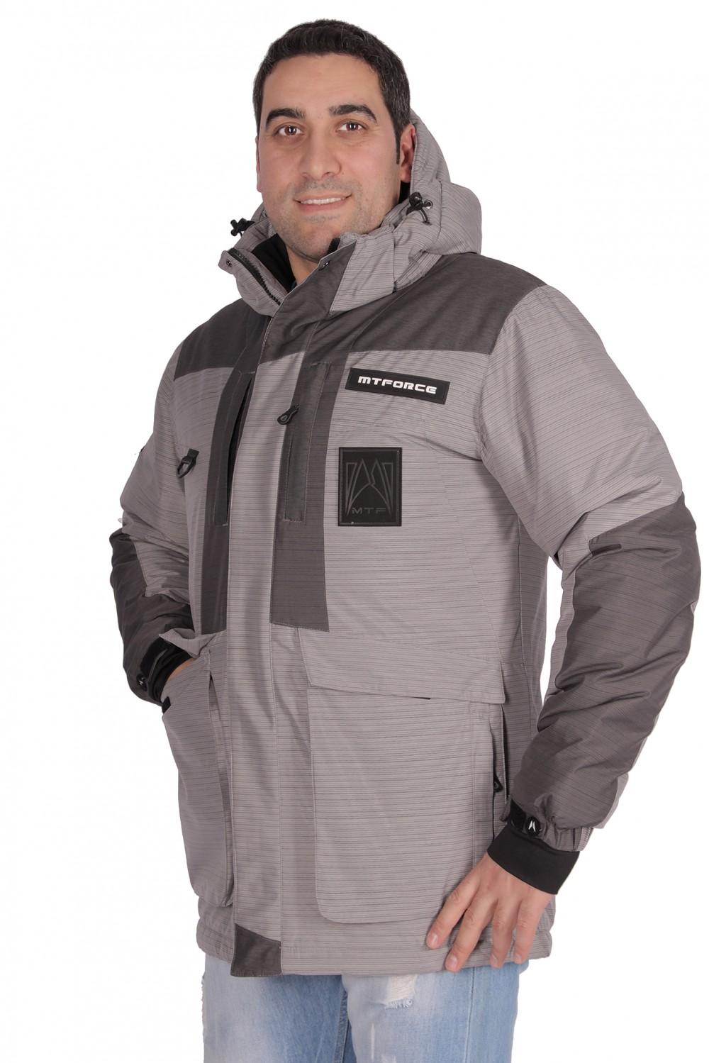 Купить оптом Куртка зимняя мужская серого цвета 1629Sr в Казани