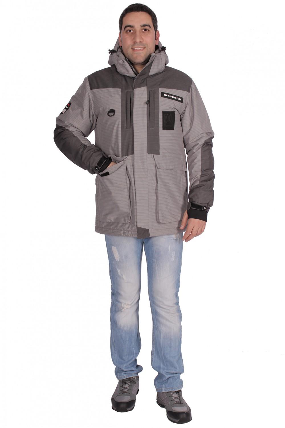 Купить оптом Куртка зимняя мужская серого цвета 1629Sr в Санкт-Петербурге