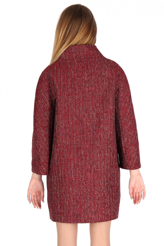 Купить оптом Полупальто женское бордового цвета 16301Bo