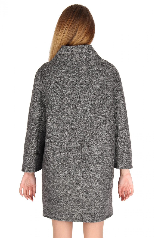 Купить оптом Полупальто женское темно-серого цвета 16301TC в Уфе