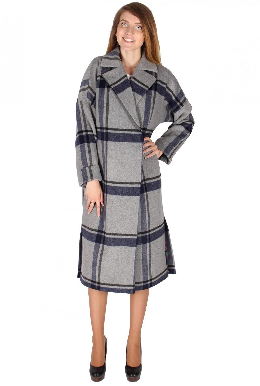 Купить оптом Пальто женское темно-синего цвета 16304TS
