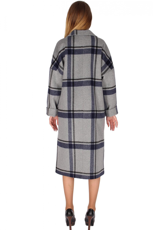 Купить оптом Пальто женское темно-синего цвета 16304TS в Воронеже