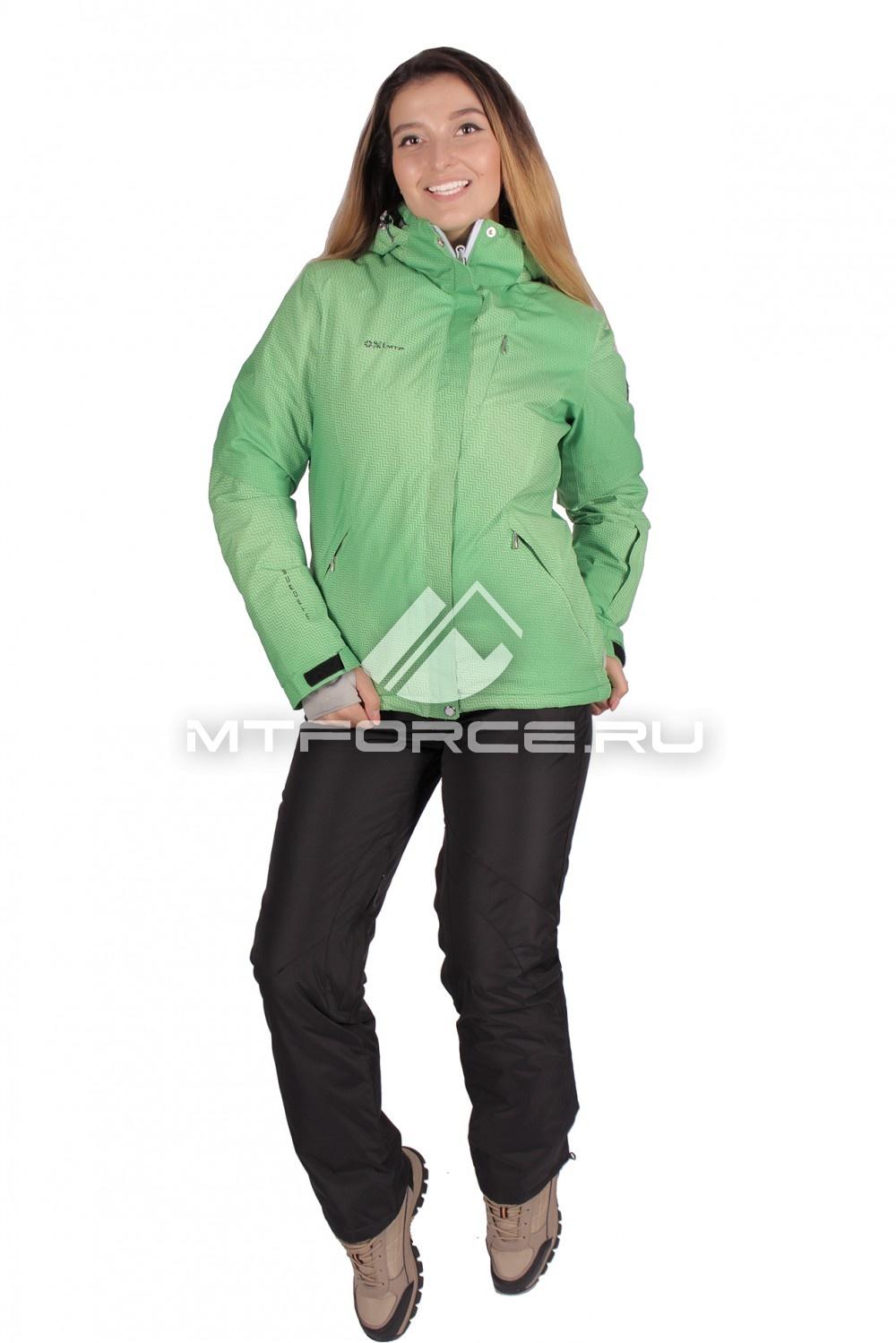 Купить оптом Костюм горнолыжный женский зеленого цвета 01631Z