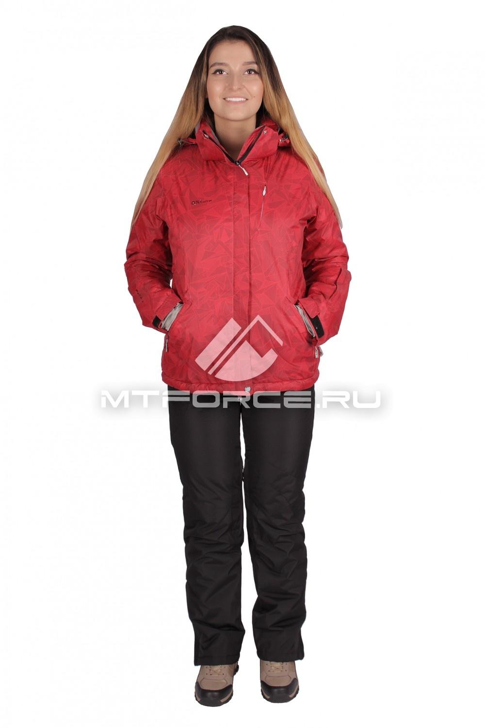 Купить                                  оптом Костюм горнолыжный женский красного цвета 01631Kr