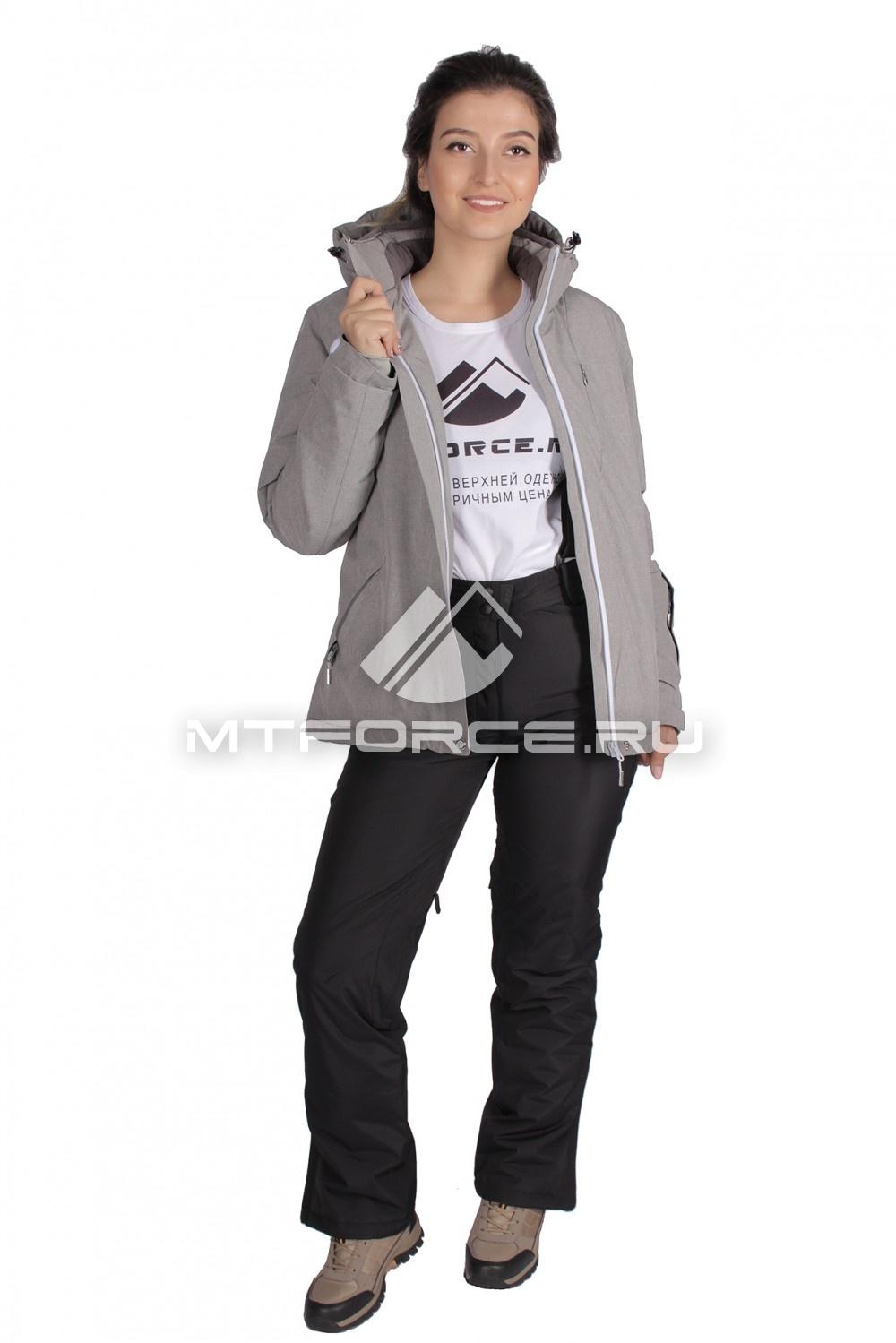 Купить                                  оптом Костюм горнолыжный женский серого цвета 01631-1Sr в Санкт-Петербурге