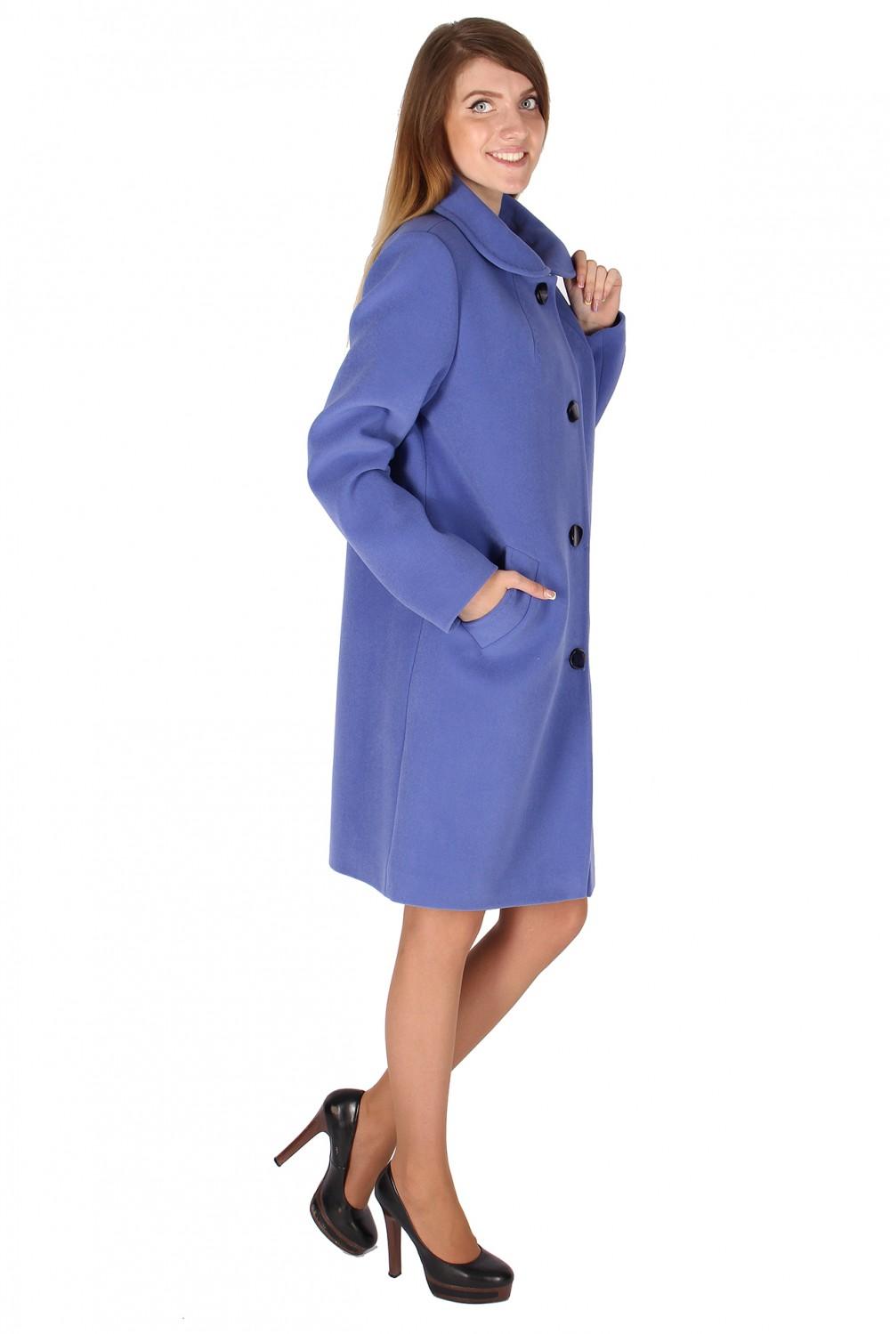 Купить оптом Пальто женское голубого цвета 16318Gl в  Красноярске
