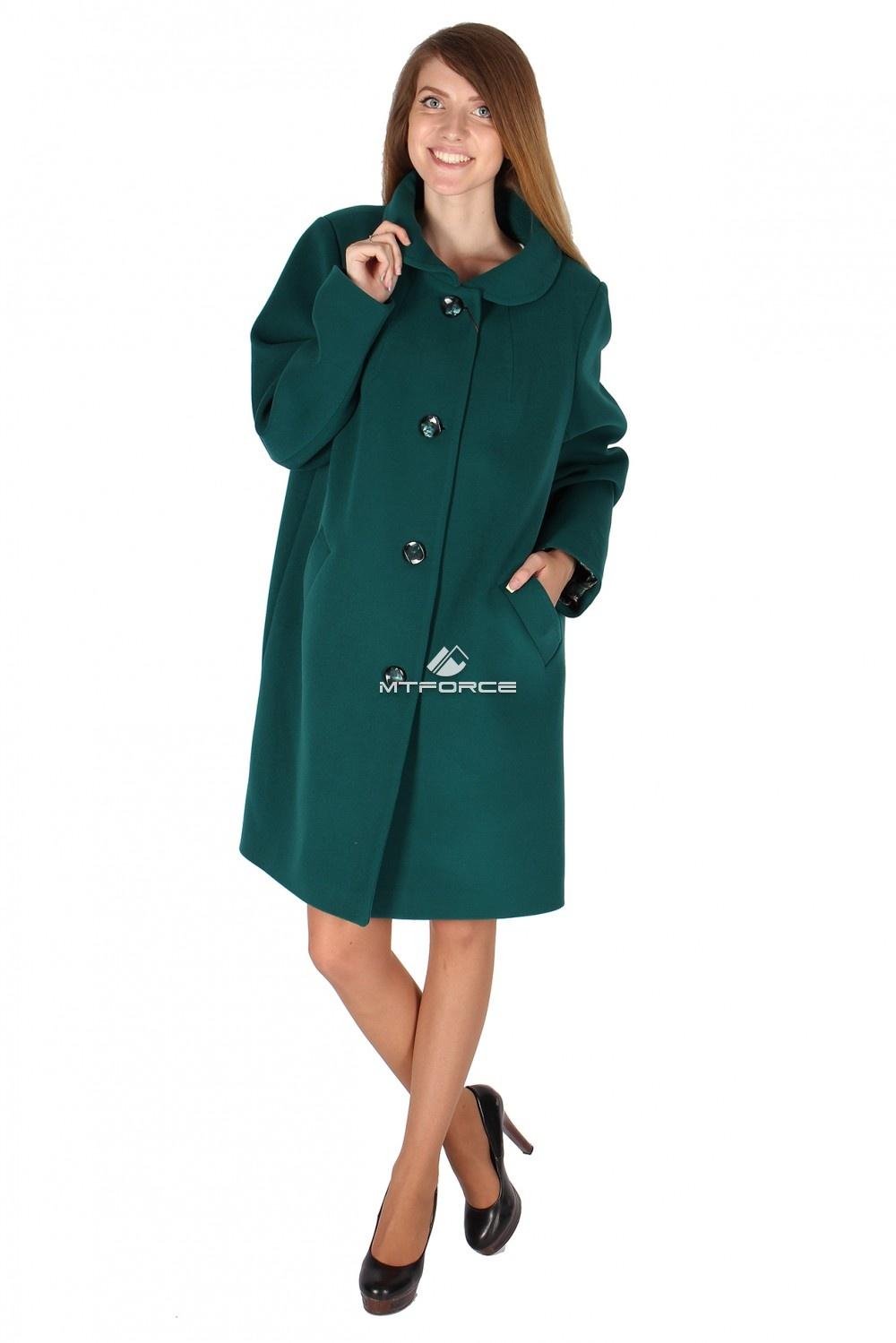 Купить оптом Пальто женское темно-зеленого цвета 16318TZ