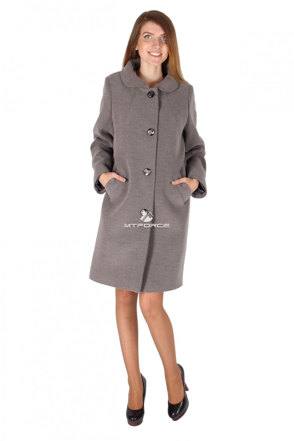 Купить                                  оптом Пальто женское серого цвета 16318Sr
