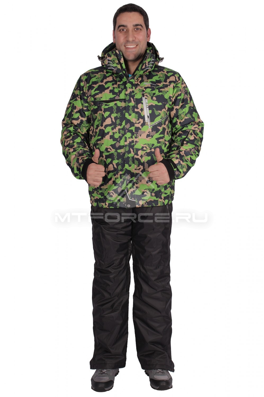Купить оптом Костюм горнолыжный мужской зеленого цвета 01632Z