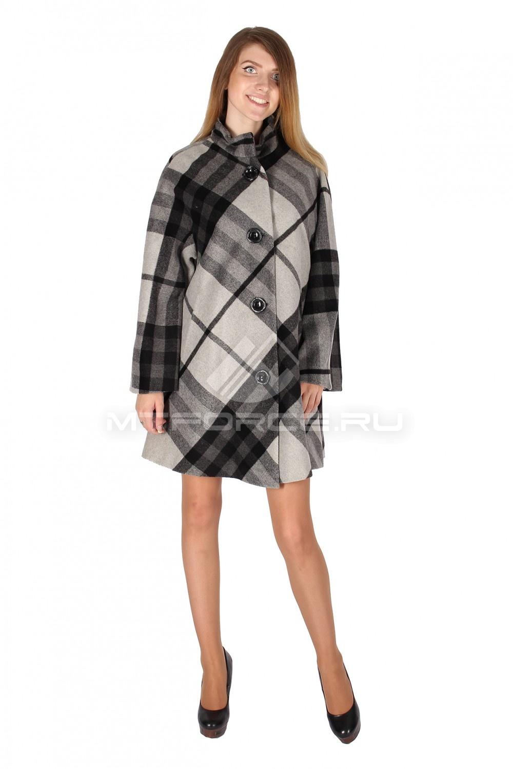 Купить                                  оптом Полупальто женское серого цвета 16324Sr