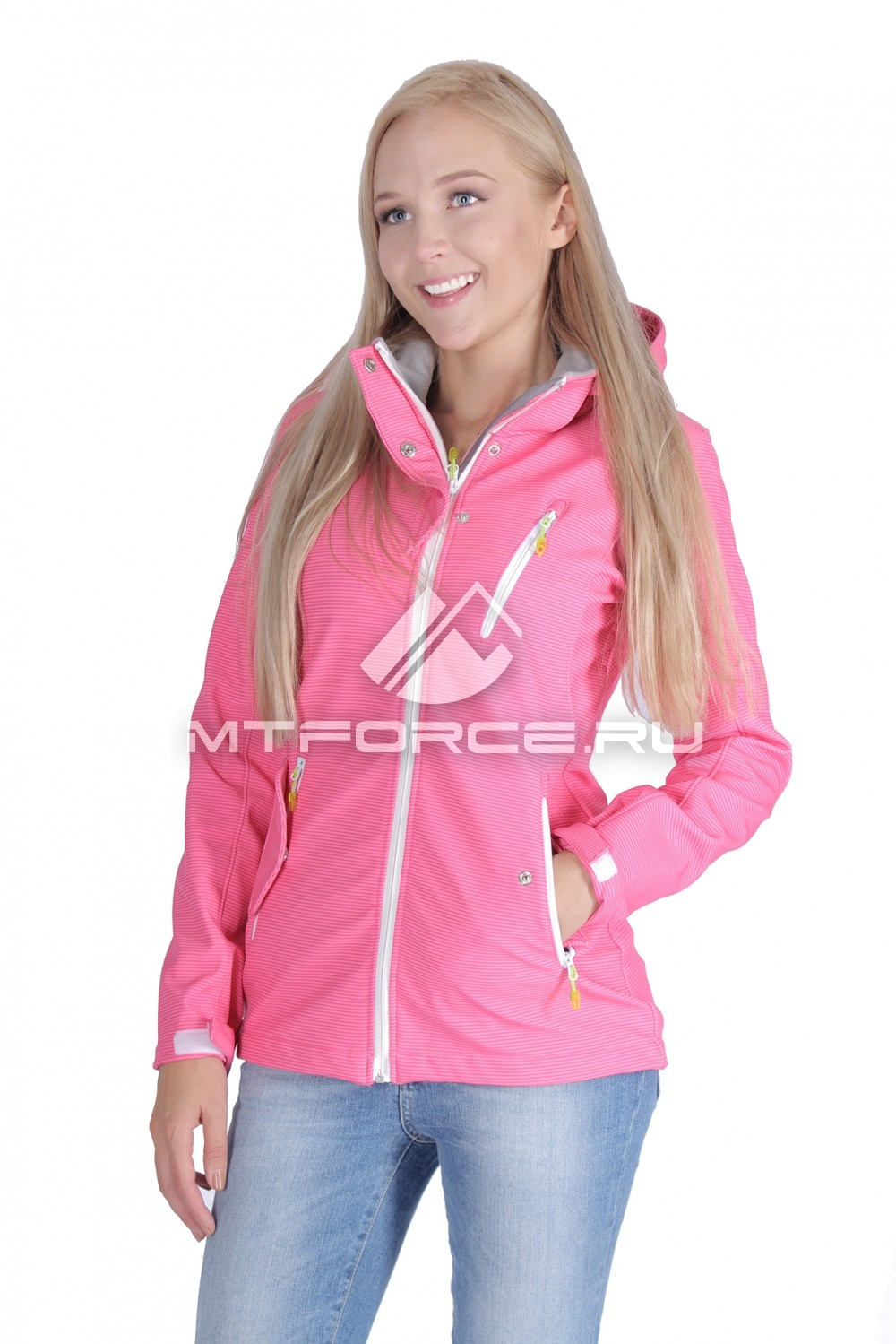 Купить                                  оптом Ветровка - виндстоппер женская розового цвета 1638R-1