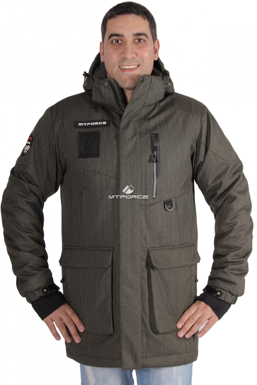Купить                                  оптом Куртка зимняя удлиненная мужская цвета хаки 1639Kh в Санкт-Петербурге