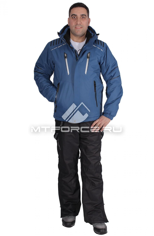 Купить                                  оптом Костюм горнолыжный мужской синего цвета 01653S в Санкт-Петербурге