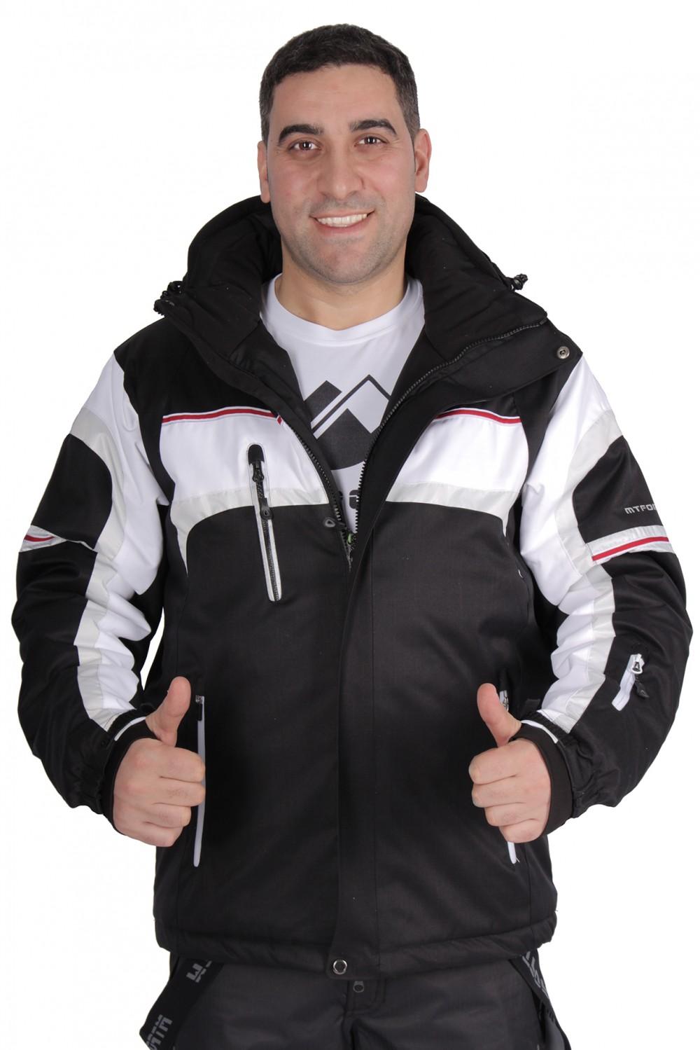 Купить оптом Куртка горнолыжная мужская черного цвета 1655Ch в Новосибирске