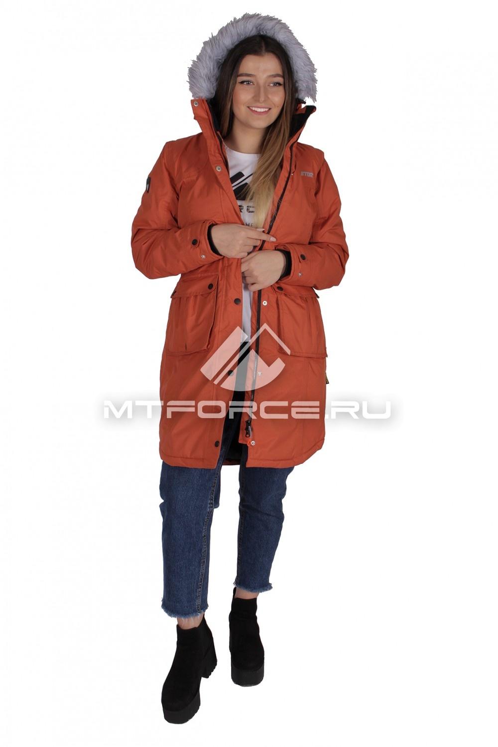 Купить                                  оптом Куртка парка демисезонная женская оранжевого цвета 16799O в Новосибирске