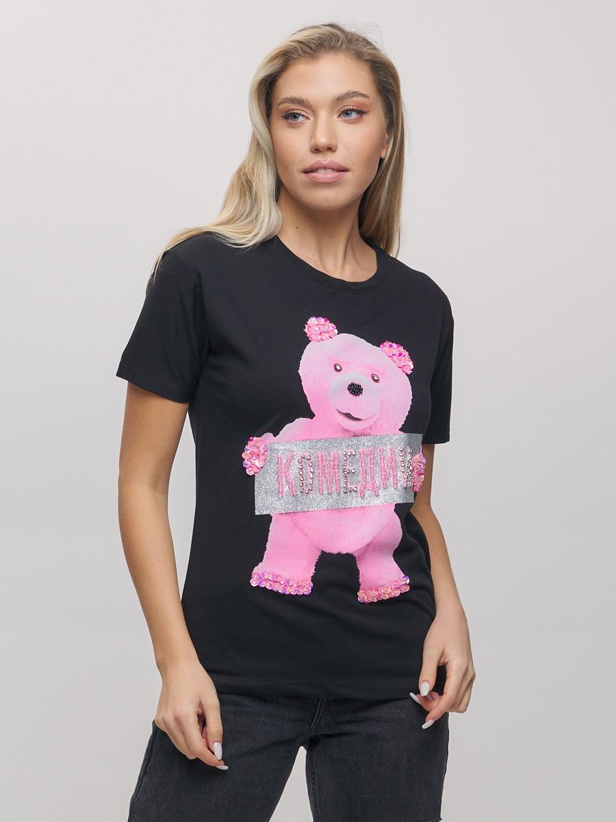 Купить оптом Женские футболки с принтом черного цвета 1681Ch в Екатеринбурге