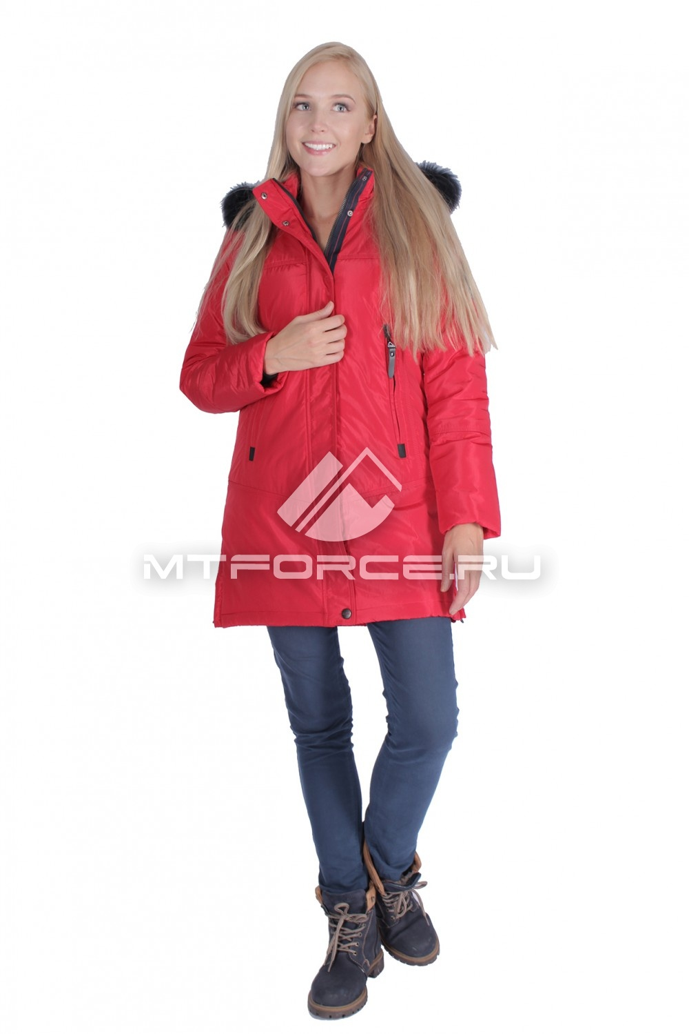 Купить                                  оптом Итальянская куртка женская красного цвета 1686Kr
