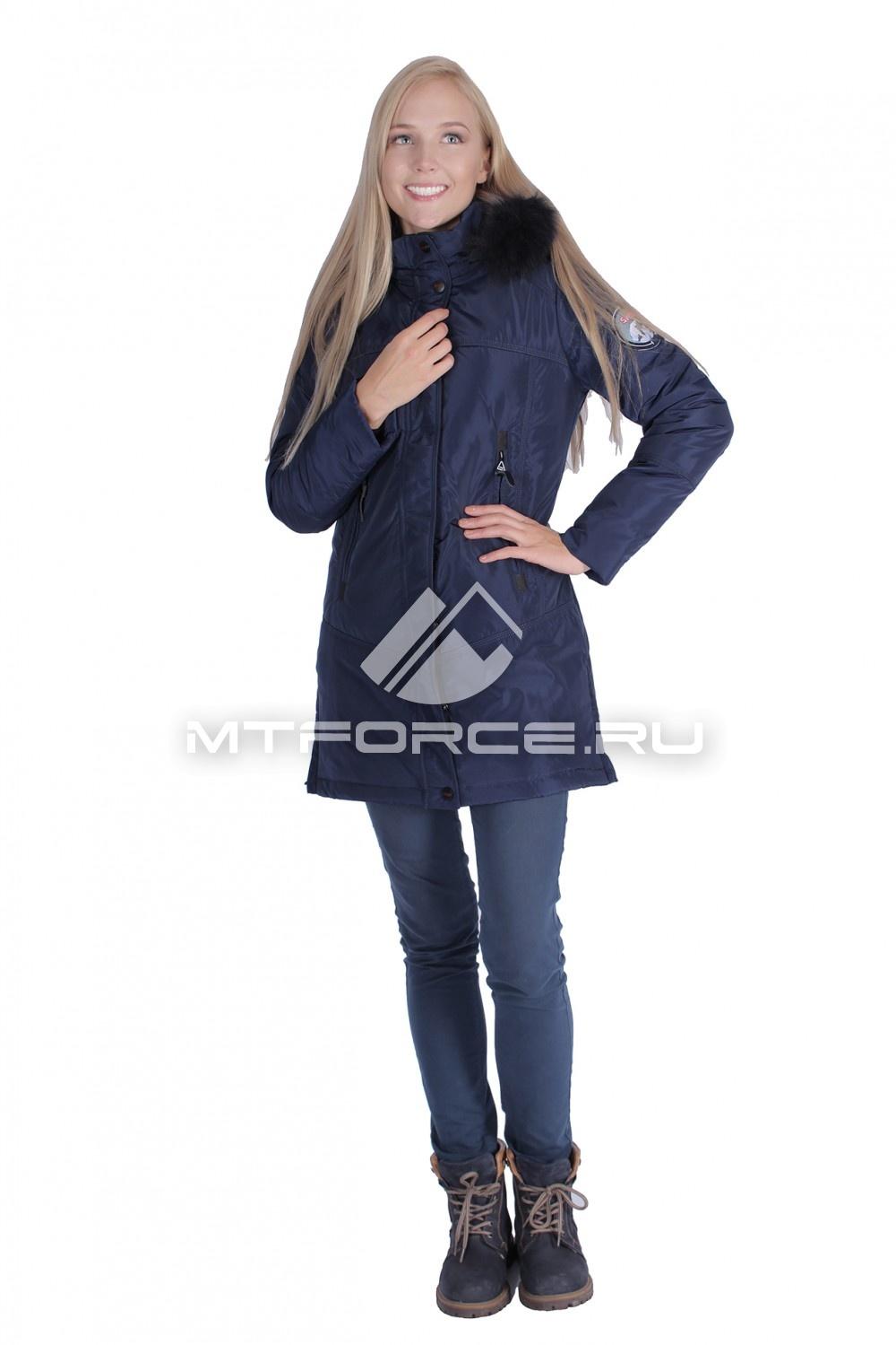 Купить                                  оптом Итальянская куртка женская темно-синего цвета 1686TS