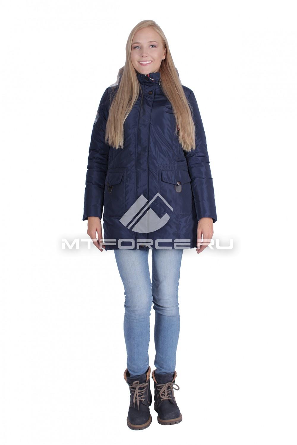 Купить                                  оптом Итальянская куртка женская темно-синего цвета 1688TS