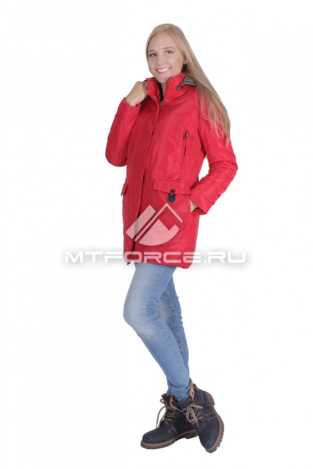 Купить                                  оптом Итальянская куртка женская красного цвета 1688Kr в Новосибирске