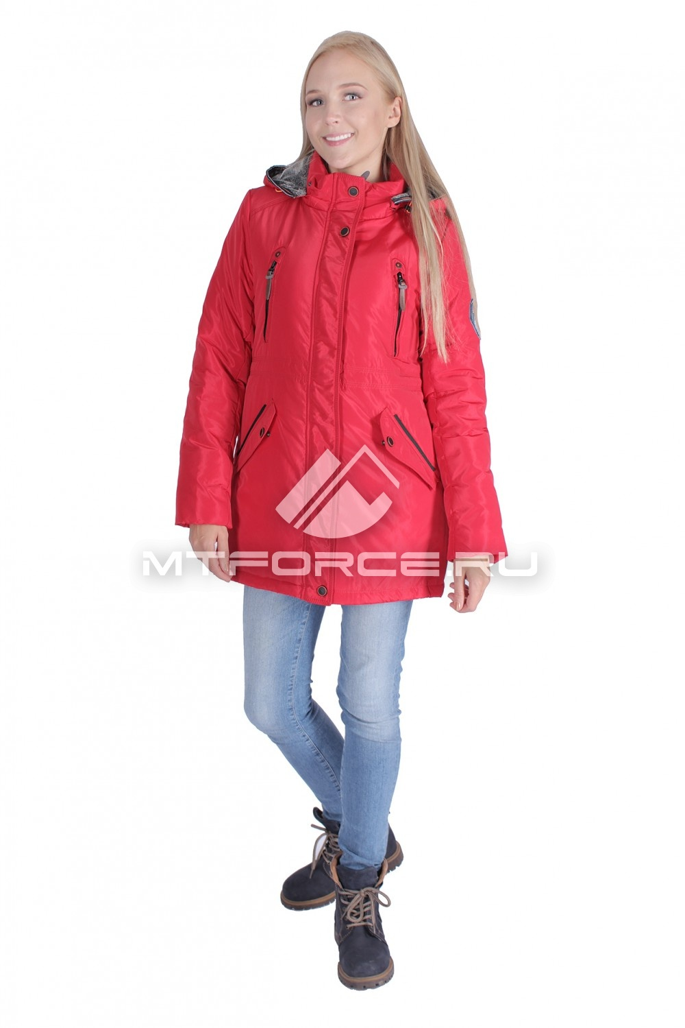 Купить оптом Итальянская куртка женская красного цвета 1689Kr